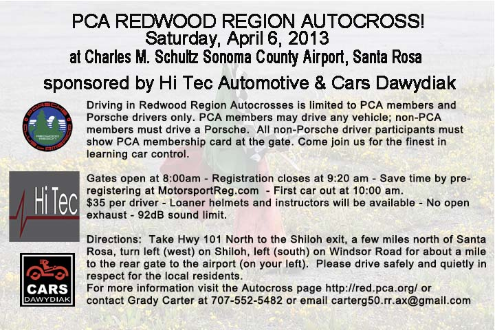 Redwood Region Autocross Announcement
